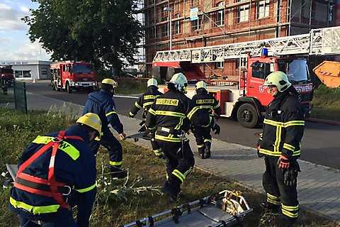 Gemeinsame Rettungsübung in stralsunds Rügenbrücke